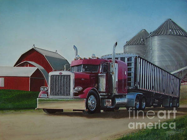Grass Field Drawing - 1998 Peterbilt 379 by Paul Kuras