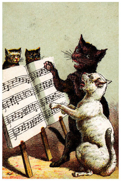 Musical Theme Painting - 19th C. Quartet Of Singing Cats by Historic Image
