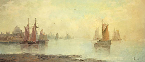 Impressionistic Sailboats Painting - 19th C Venetian Harbor Painting by Paul Ashby Antique Paintings