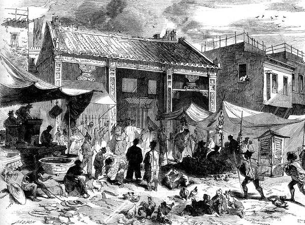 Small Town Photograph - 19th Century Chinese Market Place by Collection Abecasis/science Photo Library