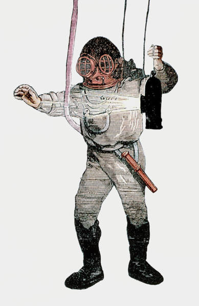 Diving Suit Photograph - 19th Century Deep-sea Diver by Sheila Terry/science Photo Library