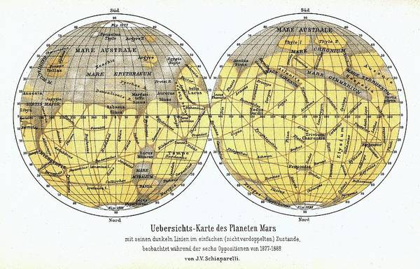 1888 Photograph - 19th Century Map Of Mars by Detlev Van Ravenswaay