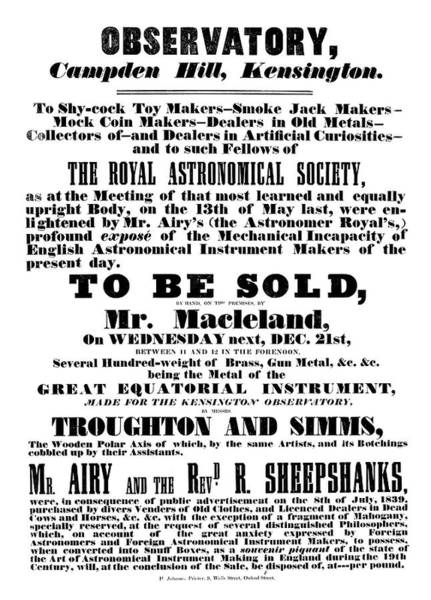 Wall Art - Photograph - 19th Century Observatory Sale Advert by Royal Astronomical Society/science Photo Library