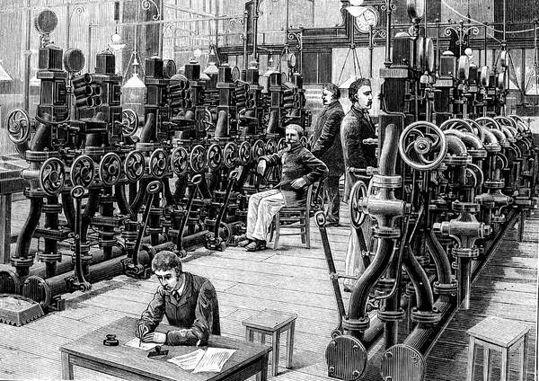 1888 Photograph - 19th Century Pneumatic Telegram Room by Collection Abecasis
