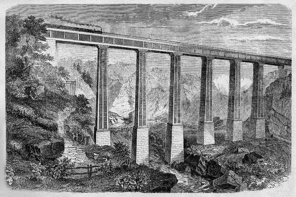 1862 Photograph - 19th Century Swiss Rail Bridge by Cci Archives