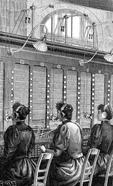 1889 Photograph - 19th Century Telephone Exchange by Collection Abecasis/science Photo Library
