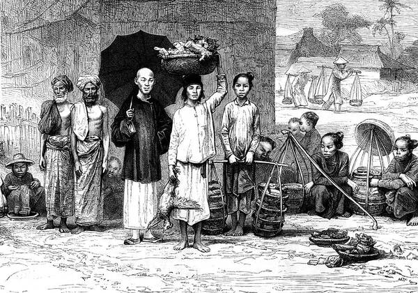 Indigenous People Wall Art - Photograph - 19th Century Vietnamese Market by Collection Abecasis