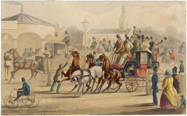 Wall Art - Drawing -  A Crowded Stagecoach At The by Mary Evans Picture Library