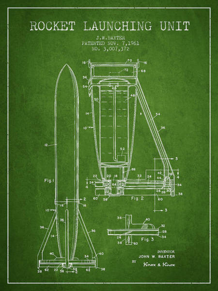 Living Space Wall Art - Digital Art -  Rocket Launching Unit Patent From 1961 by Aged Pixel