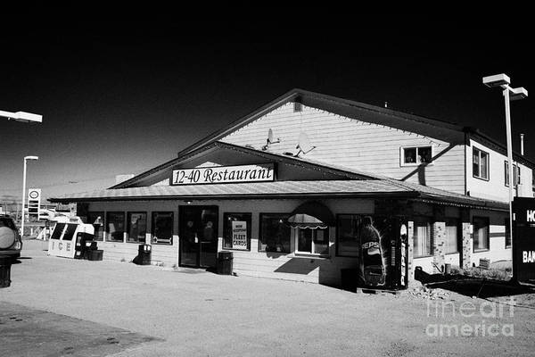 Highway 12 Wall Art - Photograph - 12-40 Restaurant And Highway Gas Station Blaine Lake Saskatchewan Canada by Joe Fox