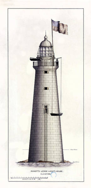 Marker Drawing - 1852 Minot's Ledge Lighthouse by Jon Neidert