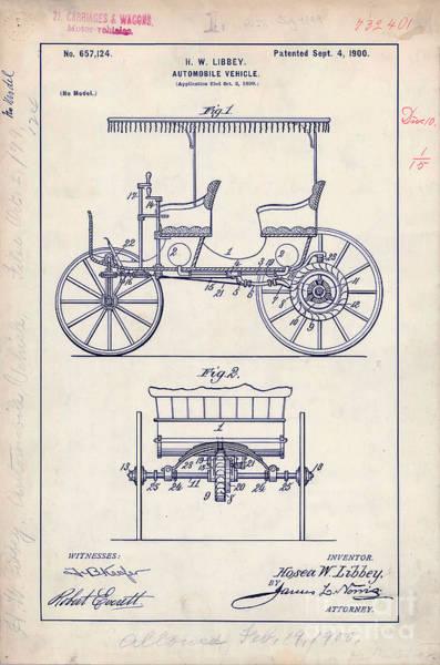 Vintage Patent Drawing - 1900 Automobile Patent Drawing by Jon Neidert