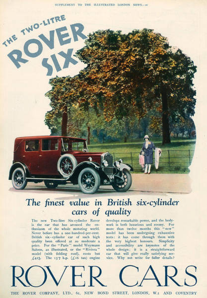 Wall Art - Photograph - 1920s Uk Rover Magazine Advert by The Advertising Archives
