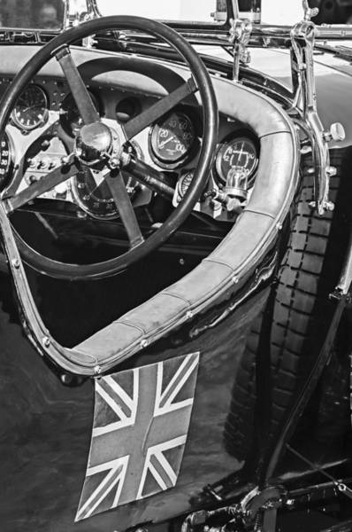 Photograph - 1931 Bentley 4.5 Liter Supercharged Le Mans Steering Wheel -1255bw by Jill Reger