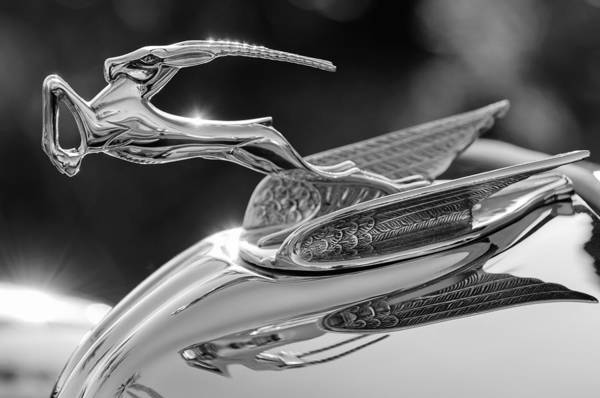 Car Part Photograph - 1933 Chrysler Imperial Hood Ornament -0484bw by Jill Reger