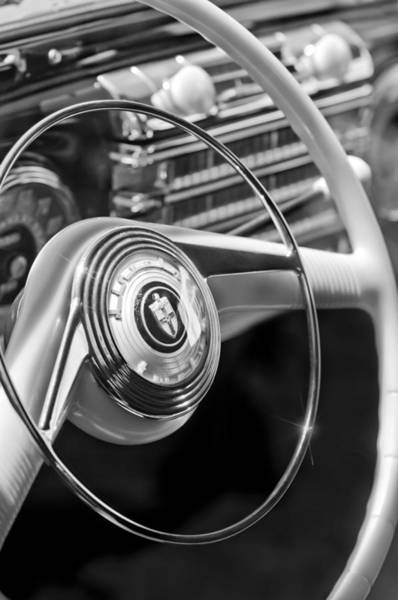 Photograph - 1942 Lincoln Continental Cabriolet Steering Wheel Emblem by Jill Reger