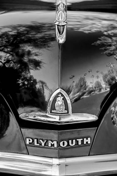 Photograph - 1948 Plymouth Special Deluxe Club Coupe Front Emblem -740bw by Jill Reger