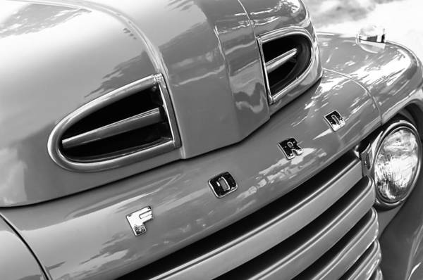 Photograph - 1949 Ford F-1 Pickup Truck Grille Emblem -0009bw by Jill Reger