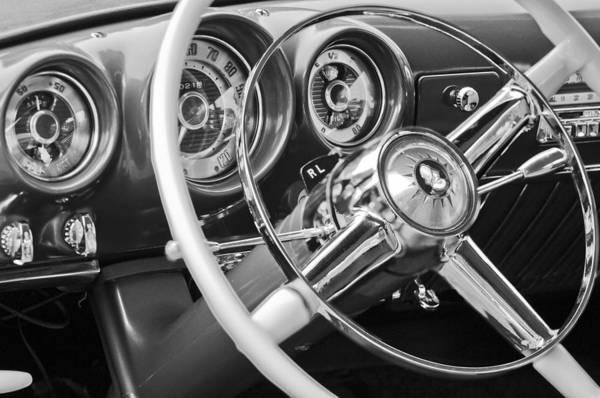 Photograph - 1953 Desoto Firedome Convertible Steering Wheel Emblem by Jill Reger