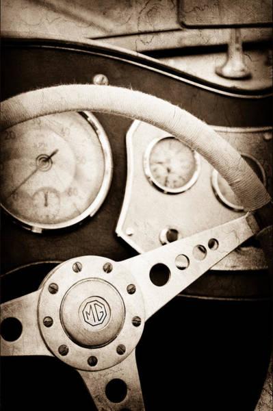 Photograph - 1953 Mg Tdc Steering Wheel by Jill Reger