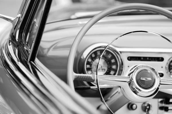 Chevrolet Bel Air Photograph - 1954 Chevrolet Belair Steering Wheel Emblem by Jill Reger