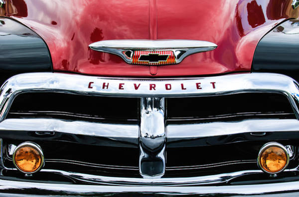 Wall Art - Photograph - 1955 Chevrolet 3100 Pickup Truck Grille Emblem by Jill Reger
