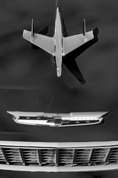 Nomad Photograph - 1955 Chevrolet Belair Nomad Hood Ornament by Jill Reger