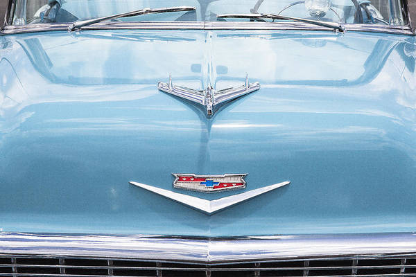 Dual Exhaust Photograph - 1956 Chevrolet Hood Ornament by Rich Franco