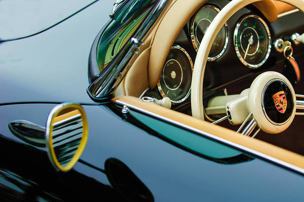 Wall Art - Photograph - 1956 Porsche 356 A Speedster Steering Wheel Emblem by Jill Reger