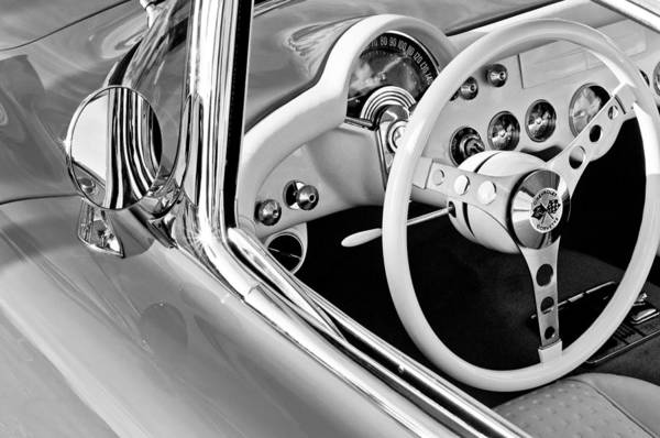 Steering Wheel Wall Art - Photograph - 1957 Chevrolet Corvette Steering Wheel Emblem by Jill Reger