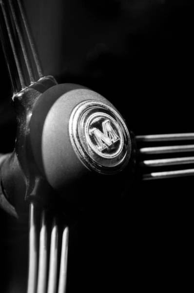 Photograph - 1960 Morris Minor Panel Delivery Truck Steering Wheel Emblem by Jill Reger
