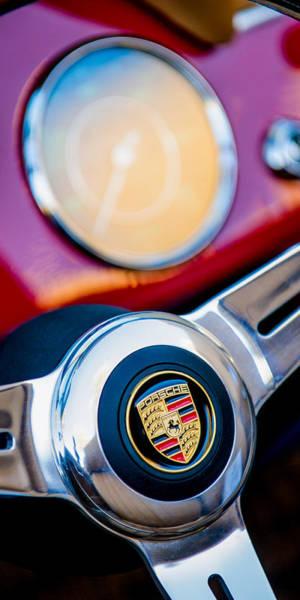 Photograph - 1960 Porsche 356b 1600 Roadster Steering Wheel Emblem by Jill Reger