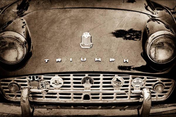 Photograph - 1960 Triumph Tr 3 Grille Emblems by Jill Reger