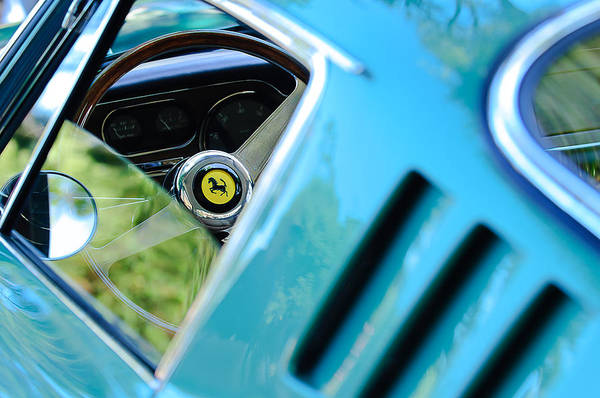 Photograph - 1966 Ferrari 275 Gtb Steering Wheel Emblem by Jill Reger