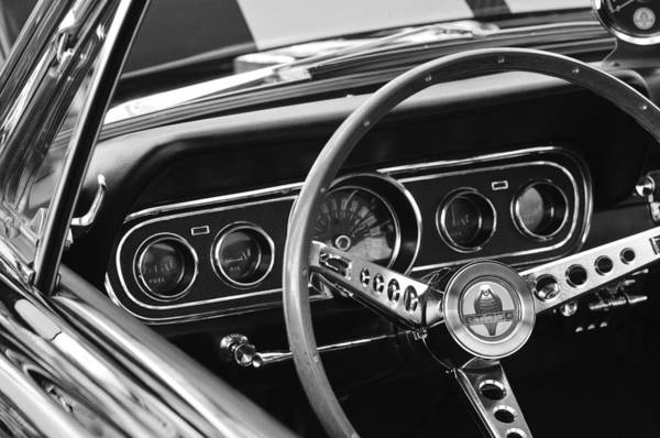 1966 Photograph - 1966 Ford Mustang Cobra Steering Wheel by Jill Reger
