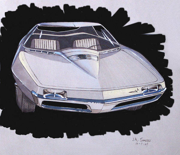Classic Car Renderings Wall Art - Drawing - 1967 Barracuda  Plymouth Vintage Styling Design Concept Rendering Sketch by John Samsen