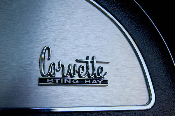 Box Car Photograph - 1967 Chevrolet Corvette Glove Box Emblem by Jill Reger