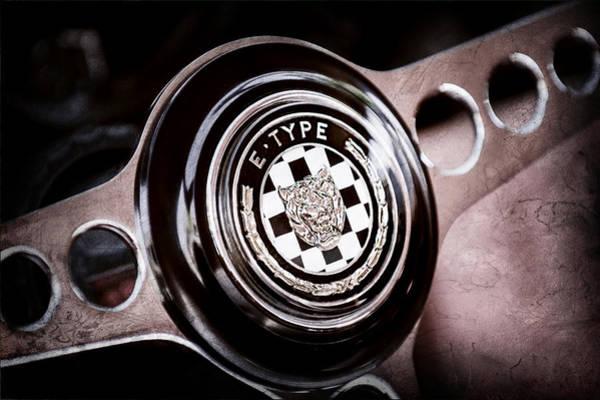 Roadsters Photograph - 1967 Jaguar E-type Series I 4.2 Roadster Steering Wheel Emblem by Jill Reger