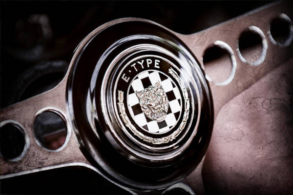 1967 Photograph - 1967 Jaguar E-type Series I 4.2 Roadster Steering Wheel Emblem by Jill Reger