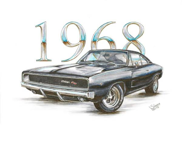 Mopar Wall Art - Drawing - 1968 Dodge Charger R/t by Shannon Watts