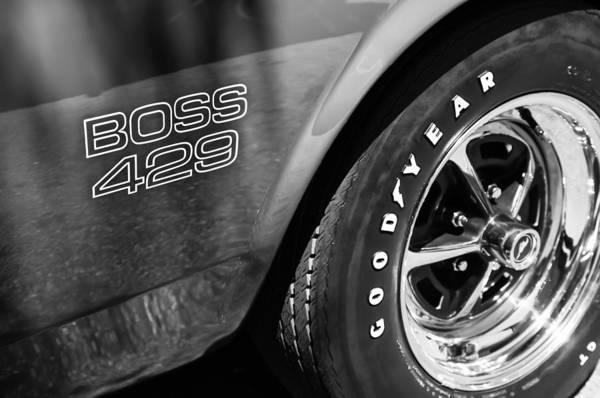 Photograph - 1969 Ford Mustang Boss 429 Sportsroof Side Emblem - Wheel by Jill Reger
