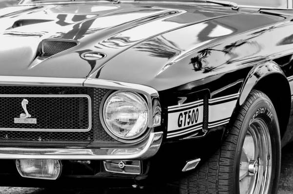 Wall Art - Photograph - 1969 Shelby Cobra Gt500 Front End - Grille Emblem by Jill Reger