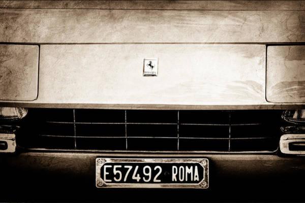 1972 Photograph - 1972 Ferrari 365 Gtb -4a Grille Emblem by Jill Reger