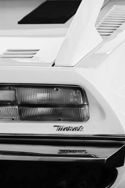 Photograph - 1974 Maserati Merak Taillight Emblem -1265bw by Jill Reger