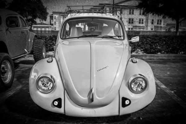 Photograph - 1974 Volkswagen Beetle Vw Bug  Bw by Rich Franco