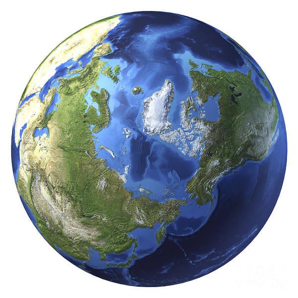Digital Art - 3d Rendering Of Planet Earth, Centered by Leonello Calvetti