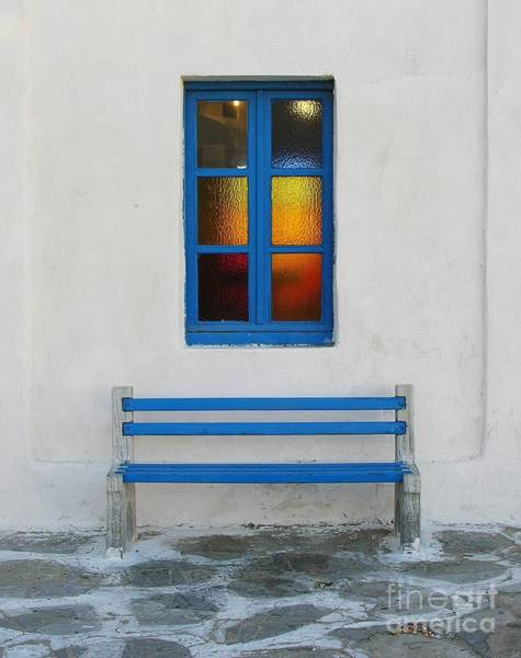 Photograph - A Blue Bench by Mel Steinhauer