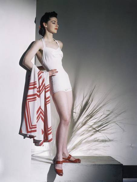 Photograph - A Model Wearing A Bathing Suit by Horst P. Horst