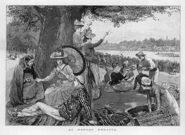Wall Art - Drawing - A Party Of People Picnicking by  Illustrated London News Ltd/Mar