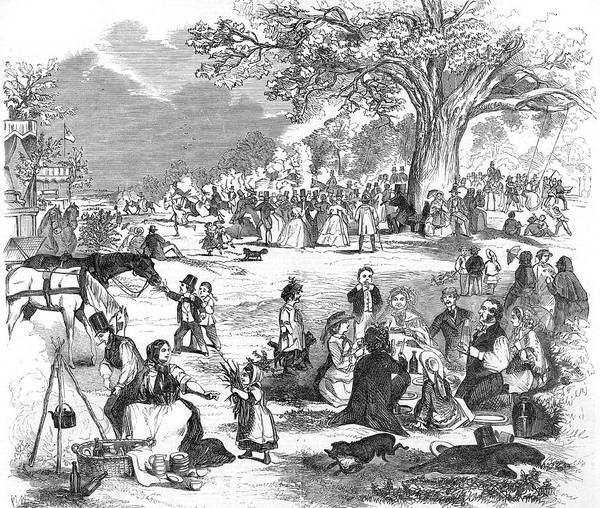 Epping Wall Art - Drawing - A Picnic In Epping Forest by Mary Evans Picture Library